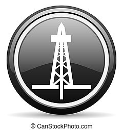 drilling black glossy icon on white background