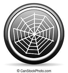 spider web black glossy icon on white background