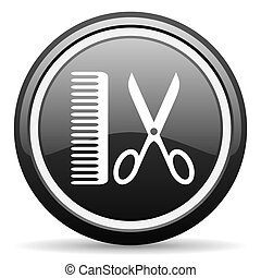 barber black glossy icon on white background
