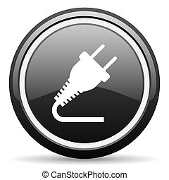 plug black glossy icon on white background