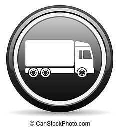 delivery black glossy icon on white background