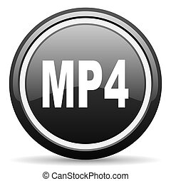 mp4 black glossy icon on white background