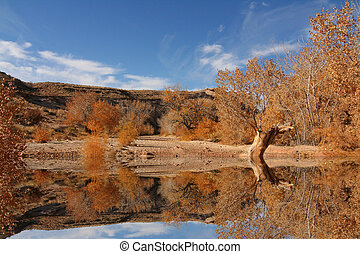 View of the red rock formations in San Rafael Swell with...