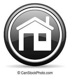 home black glossy icon on white background