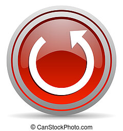 rotate red glossy icon on white background