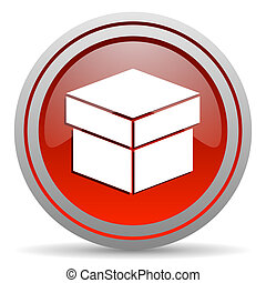 box red glossy icon on white background