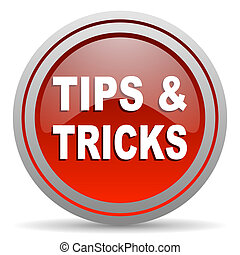 tips red glossy icon on white background