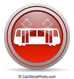 tram red glossy icon on white background