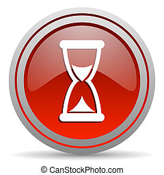 time red glossy icon on white background