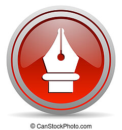 pen red glossy icon on white background