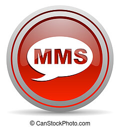 mms red glossy icon on white background