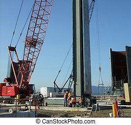steel beam - ironworks setting steel beam