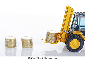 euro money coins and forklift isolated on white background