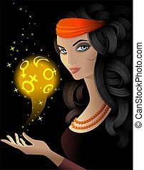 Fortune-teller  with a gold  magic ball
