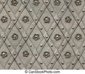 seamless texture door bind with iron nailed metal rose