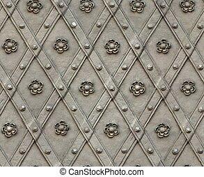 seamless texture door bind with iron nailed metal rose