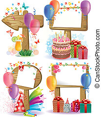 Birthday wooden sign.Contains transparent objects. Eps 10
