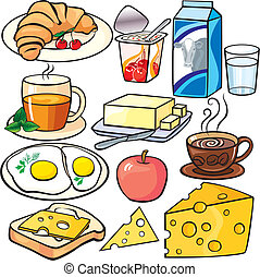 petit déjeuner, ensemble, icônes