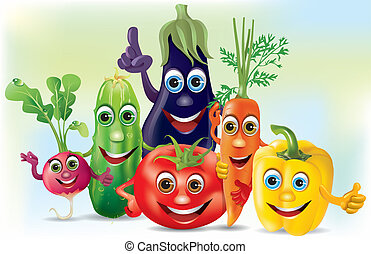 Cartoon company vegetables. Illustration contains...