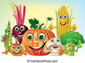 Cartoon fun company of vegetables. Illustration contains...