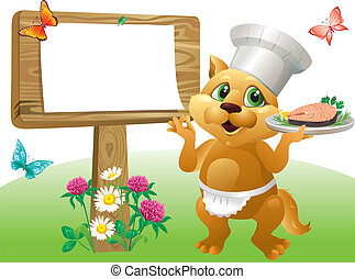Cat chef sign