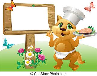 Cat chef sign
