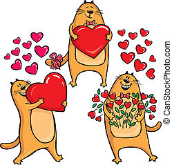 Cats in Love with heart