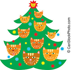 Christmas tree decorated with cats