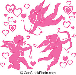 Cupids. Illustration contains transparent object. EPS 10.