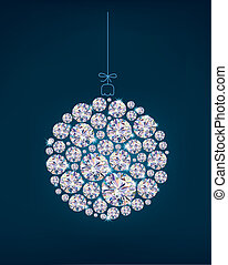 Diamond Christmas ball on blue background.Illustration...