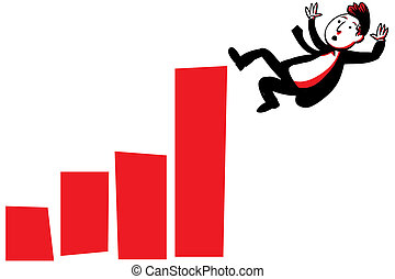 Business Fall - A cartoon businessman falls from the top of...