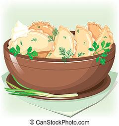 Dumpling sifting greens