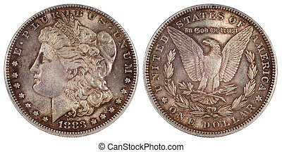 old silver coin dollar of usa 1883 year isolated on white...
