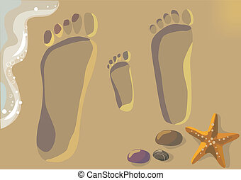 Family Vacation - Illustration of footprints in the sand-...