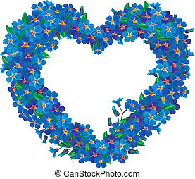 Forget-me-not flower heart. Illustration contains...