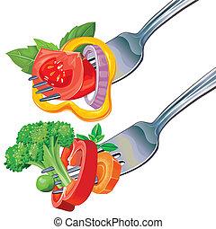 Fresh vegetable mix on fork
