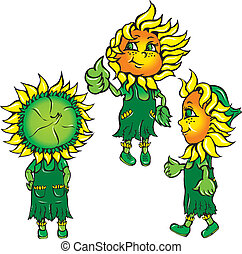 funny stylized sunflowers in the green