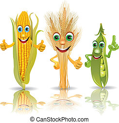 Funny vegetables, corn, ears of corn, peas Illustration...