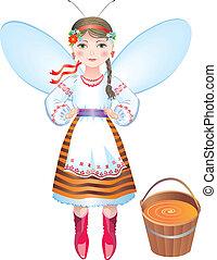 girl-bee with a bucket of honey