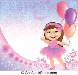 Glamorous birthday background with little girl Contains...