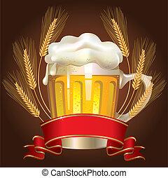 vidrio, cerveza, trigo