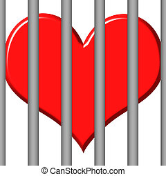 Jailed Heart - 3d jailed heart isolated in white