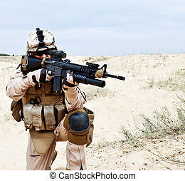 Fighting for Motherland - US marine in the desert through...