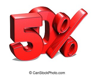 3D 50 Percent on white background