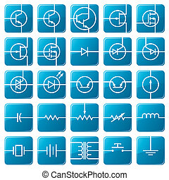 Icon set of electrical circuits. - Symbols of electronic...