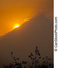 Merapi volcano at sunrise, Java, In