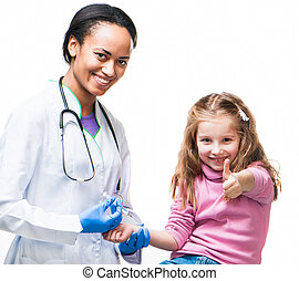 Doctor doing vaccine injection to a child - Child with...