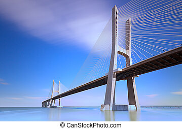 Vasco da Gama bridge, Lisbon, Portugal, Europe. - Vasco da...