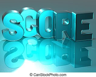3D Word Score on blue background