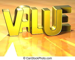 3D Word Value on yellow background